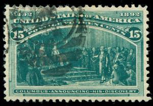 momen: US Stamps #238 Used PSE Graded XF-SUP 95