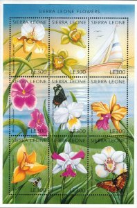 Sierra Leone MNH S/S 1918 Vibrant Flowers 9 Stamps