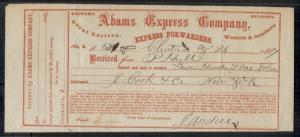 1867 ADAMS EXPRESS Co. receipt form for $501.00, VF