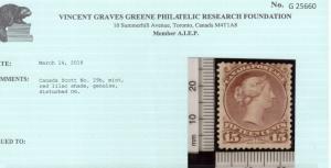 Canada #29b Mint Fine Full Original Gum Hinged **With Certificate**