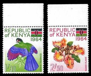 Kenya SC 18-19 * Bird & Flowers * MNH * 1964