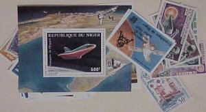 SPACE NIGER 34 DIFF. STAMPS & 2 SHEETLETS  MINT NH   cat.$60.00
