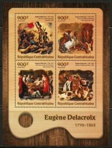 CENTRAL AFRICA 2016 EUGENE DELACROIX  PAINTING  SHEET MINT NEVER HINGED