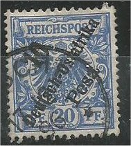 GERMAN EAST AFRICA, 1896, used 10pes on 20pf, Surcharge, Scott 9