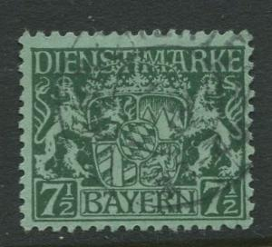 Bavaria -Scott O8- Coat of Arms -1916-17 - Used - 7.1/2pf Stamp