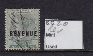 MALTA SG 20, ½d green, VFU. Revenue Stamp