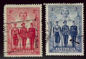 Australia SC#185-186 Used F-VF hr SCV$14.50...An Amazing Country!