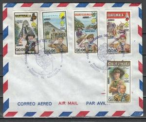 Guatemala, Scott cat. C792-C796. Scouting 75th Anniversary. First day cover.
