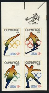 US #1698b, 13¢ Olympic Zip Blk of 4, Imperforate Error, less than 80 blks known