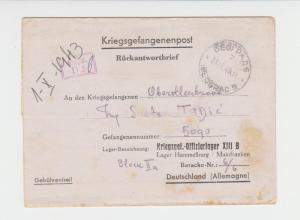 GERMANY 1943 KREIGSGEFANGENENPOST LETTER, BELGRADE-KREIGS OFF X111B BARACK 6/6