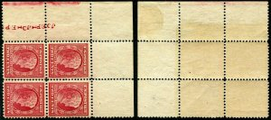 HERRICKSTAMP UNITED STATES Sc.# 369 1909 Lincoln Bluish Paper, Margin Block LH