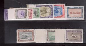 Greenland #10 - #18 Extra Fine Never Hinged Set All With Margin Tabs