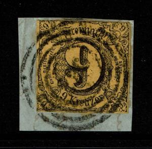 Thurn and Taxis SC# 46, Used (Noted Mi# 10), Cut on Piece - S3763