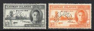 Cayman Islands 1946 Victory SPECIMEN set SG 127s, 128s mint