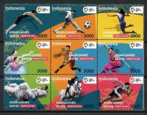 Indonesia Sports Stamps 2018 MNH Asian Games Judo Football Swimming 9v Block