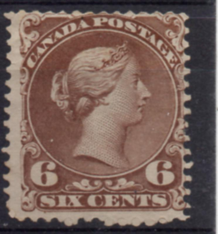 Canada Sc 27 1868 6c dk brn large Queen Victoria stamp used
