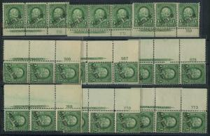 PUERTO RICO #210 (9) DIFF PLATE NOs WITH IMPRINT STRIPS OF 3 CV $473 BT6124