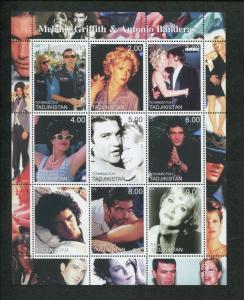 Tajikistan Commemorative Souvenir Stamp Sheet Melanie Griffith Antonio Banderas