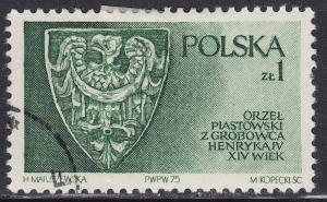 Poland 2132 USED 1975 Piast Family Shield 1.00zł