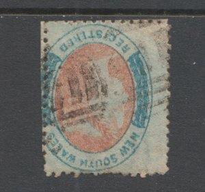 New South Wales SG 127 used. 1863 (6p) rose red & pale blue Registry, inverted W