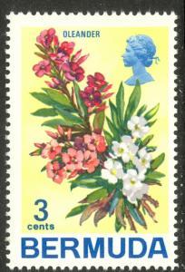BERMUDA 1970 QE2 3c FLOWERS Issue Sc 257 MNH