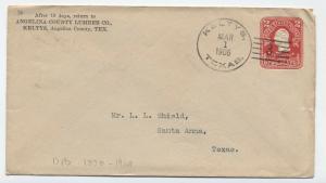 1906 Keltys Texas type 1 Doane Cancel on stamped envelope [3266]