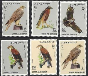 Umm al Qiwain Mi225-230 MNH Short Set of 6 Birds of Prey
