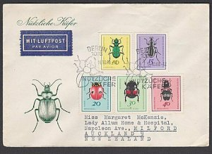 EAST GERMANY 1968 Beetles / Insects FDC to New Zealand.....................M142