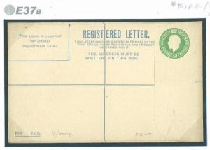 E37b~ 1922 IRELAND 5d Emerald Registered Envelope/Unused Code 'EQ' Under Flap