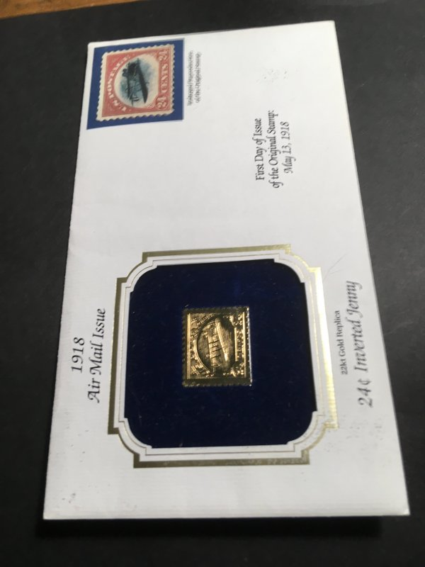 USA 1918 24c Inverted Jenny Enlarged Reproduction Plus 22Kt Gold  Replica VF