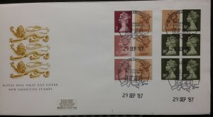 GB Machin FDC 1988 Booklet FH10 & FB45 50p /£1 (Both imperf L&R) Windsor SHS