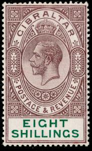 GIBRALTAR SG101, 8s dull purple & green, LH MINT. Cat £325.