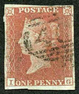 1841 Penny Red (IG) Fine Four Margin 1844 type Cancel