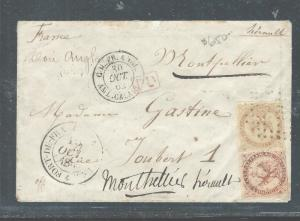 FRENCH COLONIES  (P2408B) GENERAL ISSUE 1862 2 VALUES ON COVER,  SCARCE