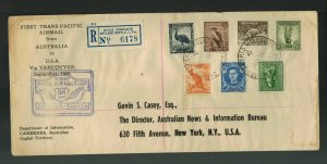 1946 Australia to USA via Canada  FFC First Flight Cover Trans Pacific