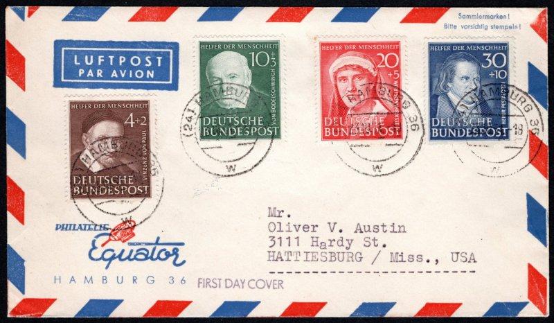 GER SC #B320-3 1951 S-P/Charitable Purposes FDC 10-23-1951