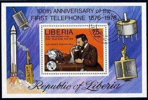 Liberia C212,CTO.Michel 1003 Bl.81A. Alexander Graham Bell 1976.UPU,ITU.