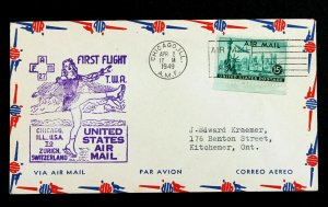 US Stamp Sc# C35 First Flight Cover FAM 27 - Chicago to Zurich 1949 Slogan .