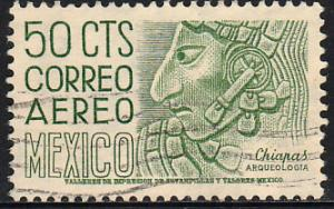 MEXICO C220E, 50cts 1950 Definitive 2nd Ptg wmk 300 PERF 11 1/2X11 USED. (1198)