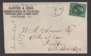 **US 19th Century Advertising Cover Scott #156, Chatham, VA 3/8/1879, Fancy Cxl