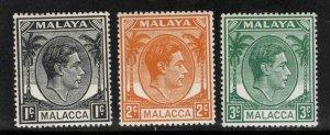 Malaya Malacca Scott 3-5 MH* stamps