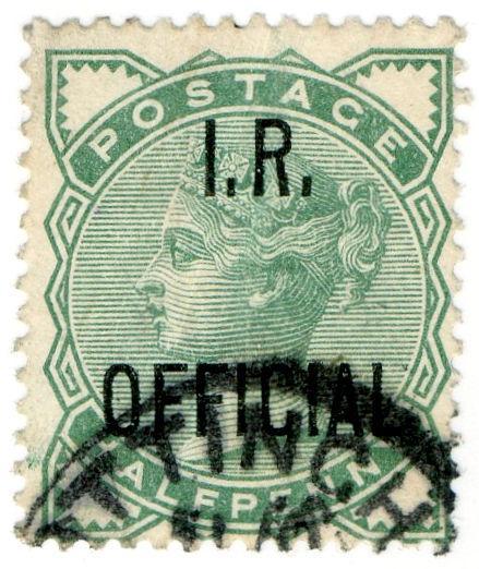(I.B) QV Postal : IR Official ½d (SG OP02)
