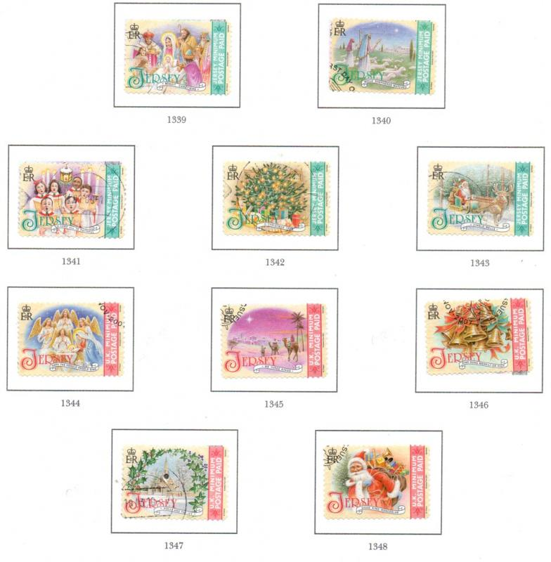 Jersey Sc 1294a-5e 2007 Christmas stamp set used