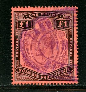 Nyasaland Protectorate # 23, Used. CV $ 170.00, Revenue Cancel