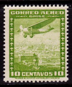Chile C90 MNH - Airplane Airmail 10c Yellow-Green No Watermark - 1935