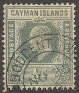 CAYMAN ISLANDS 1907 Sc 21, used 1/2d KE, Boddentown village cancel
