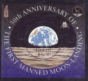 Kiribati-Sc#750-Unused NH sheet-Moon Landing anniversary-Space-1999-