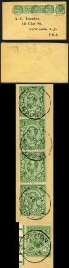 Ascension SGZ37 Z38a 1/2d strip of 4 + single with type Z2 ASCENSION on Cover