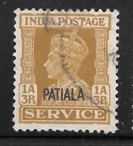 India Patiala O68: 1a3p George VI, used, F-VF