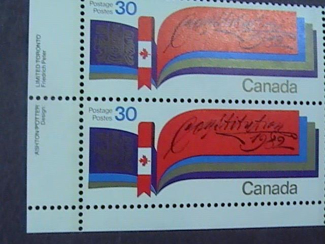 CANADA # 916--MINT/NH--CORNER MARGIN BLOCK OF 4---NEW CONSTITUTION---1982